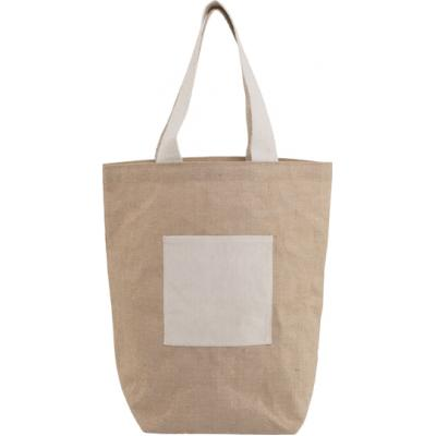 Image of Jute and cotton beach bag.