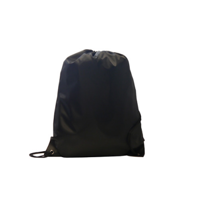Image of Kids Black Polyester Drawstring Sports Bag