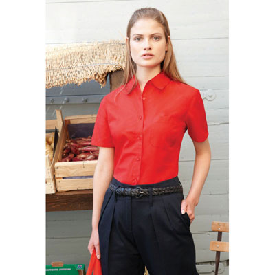 Image of Fruit of The Loom Lady Fit Short Sleeve Poplin Shirt