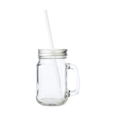 Image of Glass mason drinking jar with handle
