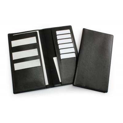 Image of Black Travel Wallet in Leather Look Belluno PU